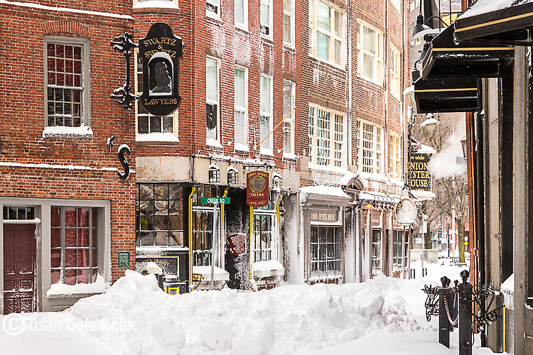 Snow on the Blackstone Block, Boston, Massachusetts, USA