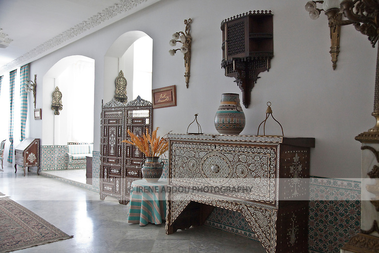 The Dar Cherait Hotel in Tozeur, Tunisia boasts intricate and impressively beautiful architecture and decor in typical Tunisian style.