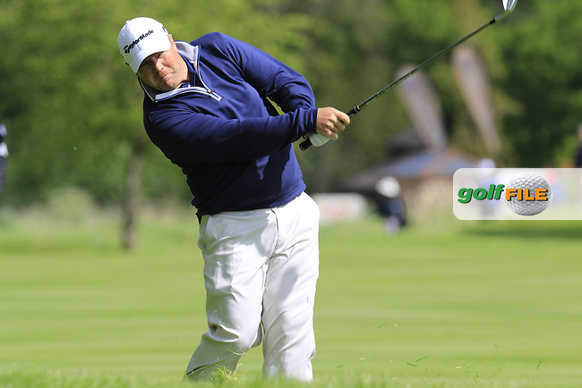 Ross McGowan (ENG) plays his 3rd shot on the 16th hole during Thursday's Round 1 of the 2016 Dubai Duty Free Irish Open hosted by Rory Foundation held at the K Club, Straffan, Co.Kildare, Ireland. 19th May 2016.<br /> Picture: Eoin Clarke | Golffile<br /> <br /> <br /> All photos usage must carry mandatory copyright credit (&copy; Golffile | Eoin Clarke)