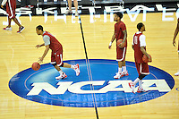NWA Democrat-Gazette/Michael Woods --03/15/2015--w@NWAMICHAELW... University of Arkansas players Trey Thompson, Anton Beard and Rashad Madden run drills during Wednesday evening's  practice at Jacksonville Veterans Memorial Arena in Jacksonville, Florida.