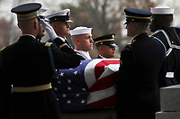 The flag-draped casket of former President George H.W. Bush is carried by a joint services military honor guard from the U.S. Capitol, Wednesday, Dec. 5, 2018, in Washington. <br /> Credit: Win McNamee / Pool via CNP / MediaPunch