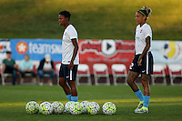 Piscataway, NJ - Sunday Sept. 25, 2016: Maya Hayes, Tasha Kai prior to a regular season National Women's Soccer League (NWSL) match between Sky Blue FC and the Portland Thorns FC at Yurcak Field.