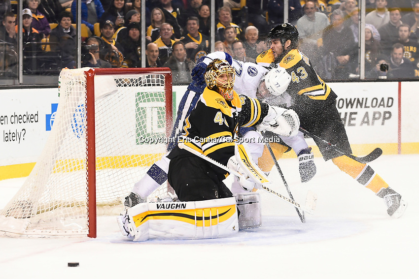 March 12, 2015 - Boston, Massachusetts, U.S. - Boston Bruins defenseman Matt Bartkowski (43) holds Tampa Bay Lightning defenseman Victor Hedman (77) as he takes a shot against goalie Tuukka Rask (40) during the NHL match between the Tampa Bay Lightning and the Boston Bruins held at TD Garden in Boston Massachusetts. The Bruins defeated the Lightning 3-2 in overtime. Eric Canha/CSM