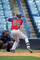 Lawson McArthur (24) of South Mecklenburg High School in Charlotte, North Carolina playing for the Cleveland Indians scout team during the East Coast Pro Showcase on July 28, 2015 at George M. Steinbrenner Field in Tampa, Florida.  (Mike Janes/Four Seam Images)