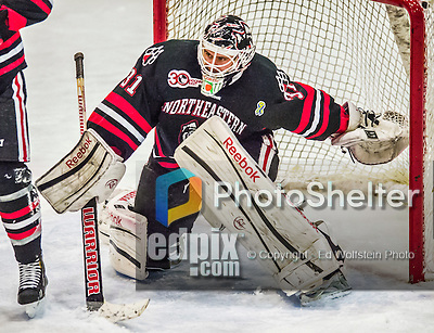 17 December 2013:  Northeastern University Huskies Goaltender Clay Witt, a Redshirt Junior from Brandon, FL, in third period action against the University of Vermont Catamounts at Gutterson Fieldhouse in Burlington, Vermont. Witt recorded a shut out as the Huskies defeated the Catamounts 3-0 to end UVM's 5 game winning streak. Mandatory Credit: Ed Wolfstein Photo *** RAW (NEF) Image File Available ***