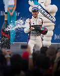 Sam Bird of Great Britain from DS Virgin Racing sprays champagne at the podium after winning the FIA Formula E Hong Kong E-Prix Round 1 at the Central Harbourfront Circuit on 02 December 2017 in Hong Kong, Hong Kong. Photo by Marcio Rodrigo Machado / Power Sport Images