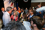Nevada Assemblywoman Jill Dickman, R-Sparks, left center, talks with Republican presidential candidate Jeb Bush after a town hall meeting in Carson City, Nev., on Friday, July 17, 2015. <br /> Photo by Cathleen Allison