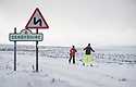 29/12/17<br /> <br /> Skiers find the best way to make their way along Ringinglow Road above Hathersage in the Derbyshire Peak District.<br /> <br /> All Rights Reserved F Stop Press Ltd. +44 (0)1335 344240 +44 (0)7765 242650  www.fstoppress.com