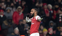 Alexandre Lacazette of Arsenal celebrates his goal during the UEFA Europa League match between Arsenal and Qarabag FK at the Emirates Stadium, London, England on 13 December 2018. Photo by Andy Rowland.