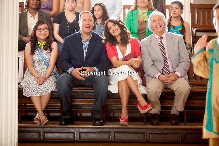 """Charice (""""Malia""""), Kevin James (""""Scott""""), Salma Hayek (""""Bella"""") and Henry Winkler (""""Marty"""") in Here comes the Boom (German title: Das Schwergewicht)...- Editorial Use Only -..Supplied by face to face"""