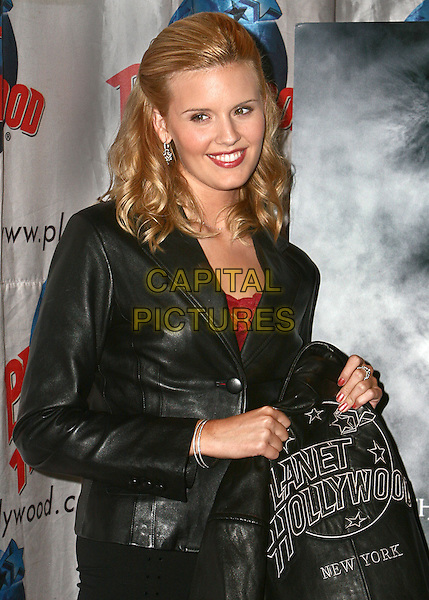 "MAGGIE GRACE.Donates Memorabilia From Her New Movie ""The Fog"" at Planet Hollywood Times Square, NYC  .October 14th, 2005.Photo Credit Jackson Lee/Admedia/Capital Pictures.Ref: JL/ADM/CAP.half length black leather jacket.www.capitalpictures.com.sales@capitalpictures.com.© Capital Pictures."