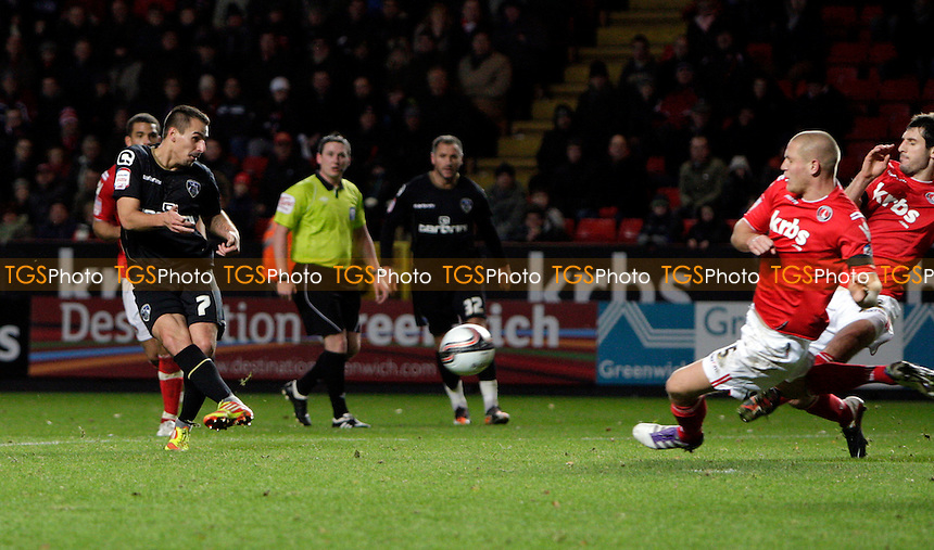 Filipe Morais of Oldham Athletic  scores the equalising goal for Oldham Athletic  - Charlton Athletic vs Oldham Athletic - nPower League One Football at The Valley, London - 17/12/11 - MANDATORY CREDIT: Helen Watson/TGSPHOTO - Self billing applies where appropriate - 0845 094 6026 - contact@tgsphoto.co.uk - NO UNPAID USE.