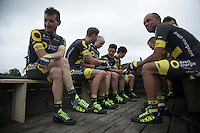 Thomas Voeckler (FRA/DirectEnergie) &amp; teammates getting ready for the Grand D&eacute;part - Official Teams Presentation in the historic village of Sainte-M&egrave;re-Eglise<br /> <br /> 103rd Tour de France 2016