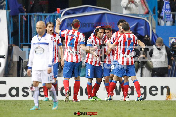 Atletico de Madrid's Falcao goal during la Liga match on december 9th 2012...Photo: Cesar Cebolla / ALFAQUI