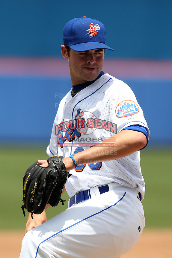 St. Lucie Mets pitcher Cory Mazzoni #39 poses for a photo after a game against the Jupiter Hammerheads at Digital Domain Park on May 2, 2012 in Port St. Lucie, Florida.  St. Lucie defeated Jupiter 3-2.  (Mike Janes/Four Seam Images)