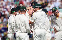 James Faulkner of Australia celebrates after taking the wicket of Ian Bell - England vs Australia - 5th day of the 5th Investec Ashes Test match at The Kia Oval, London - 25/08/13 - MANDATORY CREDIT: Rob Newell/TGSPHOTO - Self billing applies where appropriate - 0845 094 6026 - contact@tgsphoto.co.uk - NO UNPAID USE