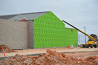A crew members work on the construction of a new middle school, Thursday, January 9, 2019 on the corner of North Vaughn and Holloway roads in Centerton<br /> <br /> The Bentonville School District is preparing to open its fourth junior high school this fall, Grimsley Junior High School. Check out nwaonline.com/200111Daily/ for today's photo gallery.<br /> (NWA Democrat-Gazette/Charlie Kaijo)
