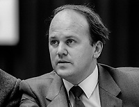 Michael Noonan, Fine Gael, TD &amp; Minister for Justice, Rep of Ireland, on platform during his party&rsquo;s annual conference, October, 1982, 198210000322A<br /> <br /> Copyright Image from Victor Patterson, 54 Dorchester Park, Belfast, UK, BT9 6RJ<br /> <br /> t1: +44 28 9066 1296 (from Rep of Ireland 048 9066 1296)<br /> t2: +44 28 9002 2446 (from Rep of Ireland 048 9002 2446)<br /> m: +44 7802 353836<br /> <br /> victorpatterson@me.com<br /> www.victorpatterson.com<br /> <br /> Please see my Terms and Conditions of Use at victorpatterson.com . It is IMPORTANT that you familiarise yourself with them.<br /> <br /> Images used on the Internet incur an additional cost and must be visibly watermarked i.e. &copy;Victor Patterson within the body of the image and copyright metadata must not be deleted. Images used on the Internet have a size restriction of 4kbs and are chargeable at rates available at victorpatterson.com.<br /> <br /> This image is only available for the use of the download recipient i.e. television station, newspaper, magazine, book publisher, etc, and must not be passed on to any third party. It is also downloaded on condition that each and every usage is notified within 7 days to victorpatterson@me.com<br /> <br /> The right of Victor Patterson to be identified as the author is asserted in accordance with The Copyright Designs And Patents Act (1988). All moral rights are asserted.