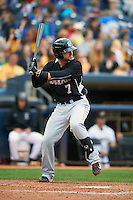 New Britain Rock Cats first baseman Dean Espy (7) at bat during a game against the Akron RubberDucks on May 21, 2015 at Canal Park in Akron, Ohio.  Akron defeated New Britain 4-2.  (Mike Janes/Four Seam Images)