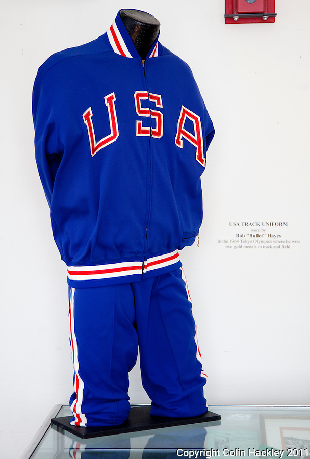 """BOB """"BULLET"""" HAYES: The warm up suit worn by Bob """"Bullet"""" Hays at the 1964 Olympics in Tokyo is part of a display in the room celebrating Florida A&M University athletes at The Black Archives in Tallahassee..COLIN HACKLEY PHOTO"""