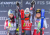 20th January 2019, Cortina D'Ampezzo, Italy; Ladies Super G,  second place Tina Weirather of Liechtenstein winner Mikaela Shiffrin of the USA third place Tamara Tippler of Austria