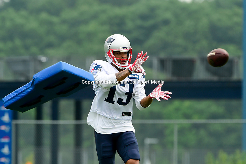 August 3, 2017: New England Patriots wide receiver Devin Lucien (13) makes a catch while having a cushion thrown at him at the New England Patriots training camp held at Gillette Stadium, in Foxborough, Massachusetts. Eric Canha/CSM