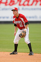 Second baseman Todd Frazier #30 of the Carolina Mudcats on defense versus the Birmingham Barons at Five County Stadium August 16, 2009 in Zebulon, North Carolina. (Photo by Brian Westerholt / Four Seam Images)