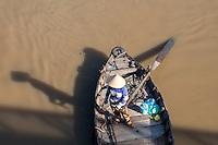 Fishing Trawlers and Boats viewed from the Tran Hung Dao Bridge in Phan Thiet City, Binh Thuan Province, Vietnam