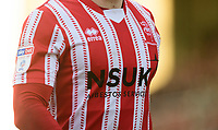 A close up of a Lincoln City home shirt<br /> <br /> Photographer Chris Vaughan/CameraSport<br /> <br /> The EFL Sky Bet League Two - Lincoln City v Northampton Town - Saturday 9th February 2019 - Sincil Bank - Lincoln<br /> <br /> World Copyright &copy; 2019 CameraSport. All rights reserved. 43 Linden Ave. Countesthorpe. Leicester. England. LE8 5PG - Tel: +44 (0) 116 277 4147 - admin@camerasport.com - www.camerasport.com