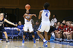 13 November 2016: Duke's Kyra Lambert (15) passes to Lexie Brown (4). The Duke University Blue Devils hosted the University of Pennsylvania Quakers at Cameron Indoor Stadium in Durham, North Carolina in a 2016-17 NCAA Division I Women's Basketball game. Duke defeated Penn 68-55.