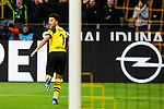 09.02.2019, Signal Iduna Park, Dortmund, GER, 1.FBL, Borussia Dortmund vs TSG 1899 Hoffenheim, DFL REGULATIONS PROHIBIT ANY USE OF PHOTOGRAPHS AS IMAGE SEQUENCES AND/OR QUASI-VIDEO<br /> <br /> im Bild | picture shows:<br /> Jadon Sancho (Borussia Dortmund #7) dreht zum Jubel ab,  <br /> <br /> Foto © nordphoto / Rauch