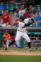 Indianapolis Indians Kevin Kramer (17) bats during an International League game against the Syracuse Mets on July 16, 2019 at Victory Field in Indianapolis, Indiana.  Syracuse defeated Indianapolis 5-2  (Mike Janes/Four Seam Images)
