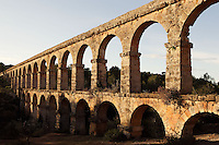 The ?Ferreres? Aqueduct; I Century AD, Tarragona (Tarraco, Hispania Citerior), Catalonia, Spain; 217 metres long and maximum height of 27 meters; two storeys of superimposed arcades, with eleven arches on the lower storey and twenty-five arches on the upper storey; located on the left bank of the River Francolí, about 4 km from the town, it carried the water to the town.