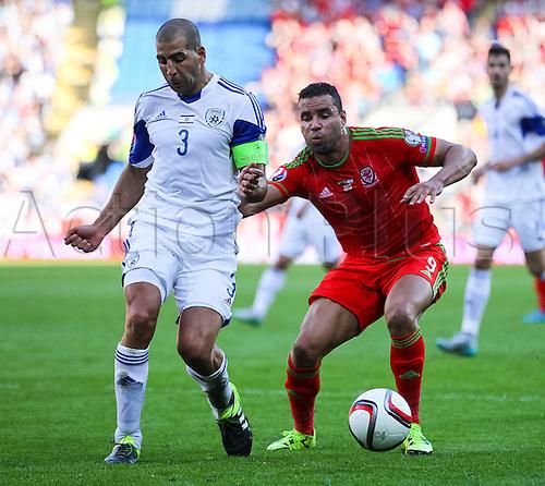 06.09.2015. Cardiff, Wales. Euro 2016 Qualifying. Wales versus Israel. Israel's Tal Ben Haim(L) battles with Wales Hal Robson-Kanu.