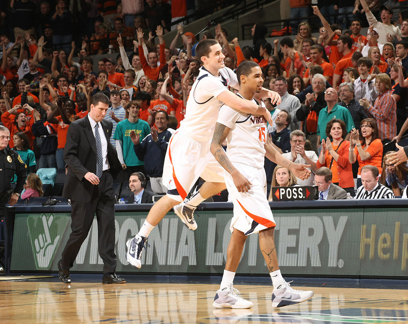 Virginia beat UNC Wilmington 69-67 Monday Jan. 18, 2010 in Charlottesville, Va. Virginia guard Sammy Zeglinski (13) and Virginia guard Sylven Landesberg (15) (Photo/The Daily Progress/Andrew Shurtleff)