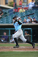 Brandon Diaz (5) of the Inland Empire 66ers bats against the Lancaster JetHawks at The Hanger on September 3, 2017 in Lancaster, California. Lancaster defeated Inland Empire, 5-4. (Larry Goren/Four Seam Images)