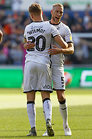 (L-R) Ben Wilmot of Swansea City celebrates his goal with Mike van der Hoorn during the Sky Bet Championship match between Swansea City and Cardiff City at the Liberty Stadium, Swansea, Wales, UK. Sunday 27 October 2019