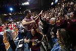 SIOUX FALLS, SD - MARCH 24: A Northern State University fan is carried through the arena during the Division II Men's Basketball Championship held at the Sanford Pentagon on March 24, 2018 in Sioux Falls, South Dakota. Ferris State University defeated Northern State University 71-69. Ferris State University defeated Northern State University 71-69. (Photo by Tim Nwachukwu/NCAA Photos via Getty Images)