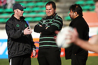 Manawatu academy manager Jason O'Halloran (left) talks with coaches Dave Rennie and Bruce Hemara during the Air NZ Cup preseason match between Manawatu Turbos and Wellington Lions at FMG Stadium, Palmerston North, New Zealand on Friday, 17 July 2009. Photo: Dave Lintott / lintottphoto.co.nz
