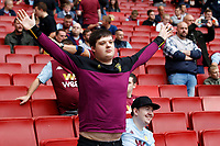 An Aston Villa fan holds arms aloft during the Premier League match between Arsenal and Aston Villa at the Emirates Stadium, London, England on 22 September 2019. Photo by Carlton Myrie / PRiME Media Images.