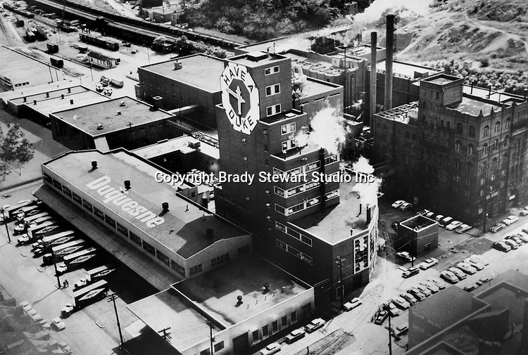 Pittsburgh PA:  Aerial View of the Duquesne Brewery on the South Side of Pittsburgh - 1967