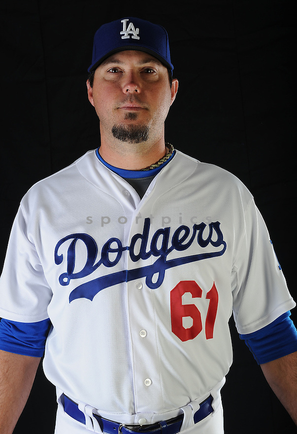 LA Dodgers Josh Beckett (61) at media photo day on February 17, 2013 during spring training in Glendale, AZ.