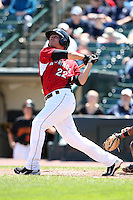 Rochester Red Wings Third Baseman Danny Valencia (22) during a game vs. the Louisville Bats Sunday, May 16, 2010 at Frontier Field in Rochester, New York.   Rochester defeated Louisville by the score of 4-3.  Photo By Mike Janes/Four Seam Images