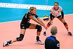 23.08.2018, Sporthalle Berg Fidel, Muenster<br />Volleyball, LŠnderspiel / Laenderspiel, Deutschland vs. Niederlande<br /><br />Annahme Maren Fromm (#4 GER), Lenka DŸrr / Duerr (#1 GER)<br /><br />  Foto &copy; nordphoto / Kurth