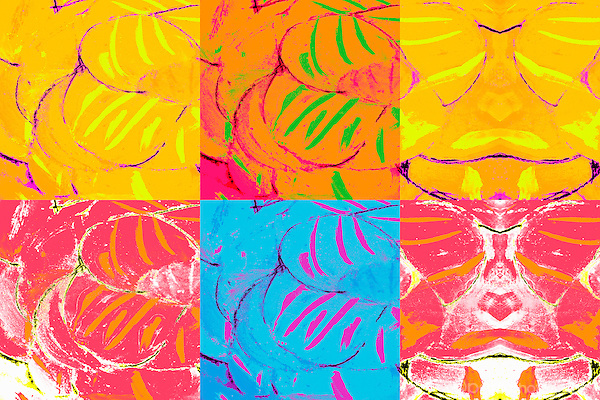 Colorful abstract image with lines and curves.  Colors are yellow, red, blue and green