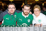 Rory Sugrue, Austin and Patricia Cirilla Killarney keeping their nerves in check before the Irish/Wales game in the INEC on Saturday morning..