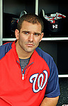 16 May 2012: Washington Nationals infielder Danny Espinosa sits in the dugout prior to a game against the Pittsburgh Pirates at Nationals Park in Washington, DC. The Nationals defeated the Pirates 7-4 in the first game of their 2-game series. Mandatory Credit: Ed Wolfstein Photo