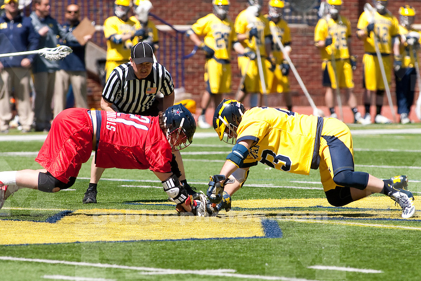 The University of Michigan men's lacrosse team beats Robert Morris, 19-10, during Senior Day at Michigan Stadium in Ann Arbor, Mich., on April. 26, 2014.