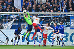 16.03.2019, VELTINS Arena, Gelsenkirchen, Deutschland, GER, 1. FBL, FC Schalke 04 vs. RB Leipzig<br /> <br /> DFL REGULATIONS PROHIBIT ANY USE OF PHOTOGRAPHS AS IMAGE SEQUENCES AND/OR QUASI-VIDEO.<br /> <br /> im Bild Parade Alexander Nübel / Nuebel (#35 Schalke) gegen Ibrahima Konate (#6 Leipzig)<br /> <br /> Foto © nordphoto / Kurth