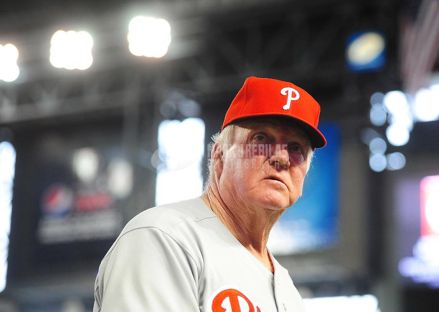 Apr. 25, 2012; Phoenix, AZ, USA; Philadelphia Phillies manager Charlie Manuel following the game against the Arizona Diamondbacks at Chase Field. Mandatory Credit: Mark J. Rebilas-